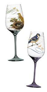 Layers of Nature,Handpainted Wine Glass 12 oz,Glass,3.5x8.75 Inches,Assorted 2 by Cypress Home. $29.99