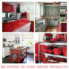 Red kitchens for 'Action-Oriented' Personalities - Find out other kitchen/personality matches from the blog post.