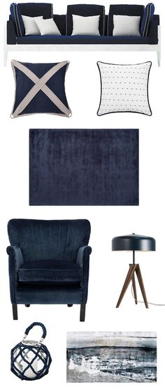 nautical navy and white interior ideas, moodboard