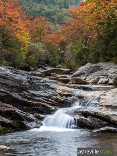 Hike the Graveyard Fields Trail off the Blue Ridge Parkway in fall, catching views of Graveyard's waterfalls framed in fall leaf color