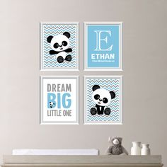 Baby Nursery Art Print  Panda Bear by RhondavousDesigns2 - custom order, green, gray, & purple