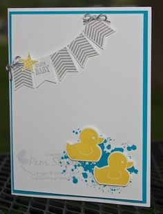 Ink:  Smoky Slate (126981); Tempting Turquoise (126952); Daffodil Delight (126944) Cardstock:  Whisper White (100730); Tempting Turquoise (102067) Accessories:  Basic Gray Baker's Twine (134587) Tools:  Big Shot (113439); Banner Punch (133519);  Itty Bitty Accents Punch Pack (133787); Baby's First Framelits (133735) Stamp Sets:  Gorgeous Grunge (w: 130514; c: 130517); Pictogram Punches (w: 134261; 134264); Something for Baby (w: 134027; c: 134030)