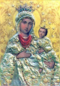 Polish Icon of the Blessed Mother with Baby Jesus: Matka Boża Inwałdzka