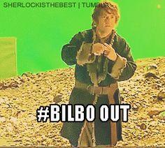 http://24.media.tumblr.com/274636131459a4e02ee73187570665b1/tumblr_mk6q6uxKRq1rhch0xo1_250.gif. Bilbo out! #Bilbo #Hobbit #Baggins #Martin_Freeman