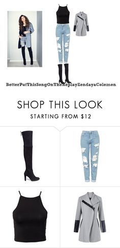"""""""Zendaya Colemen"""" by teresamontora ❤ liked on Polyvore featuring beauty, Stuart Weitzman, Coleman, Topshop and NLY Trend"""