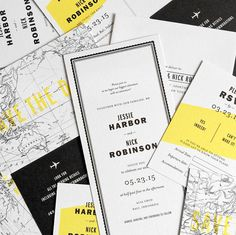 Destination Wedding Invitation. Black, white and yellow.