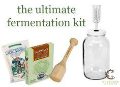 It's a giveaway: ultimate fermentation kit with sea salt, kraut pounder, starter culture and fermenter.