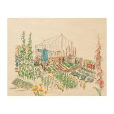 """""""Peter Rabbit's Gard"""" Inspired WOOD WALL ART 14x11"""