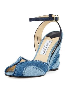 1f654c458346 Jimmy Choo Damon Denim 100mm Wedge Sandal