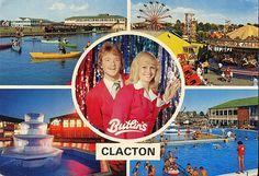 Promotional postcard for Butlins in Clacton - 3 Butlins Holidays, British Holidays, Holiday Day, England Uk, Camps, Back In The Day, Vintage Postcards, Summer Days, Childhood Memories