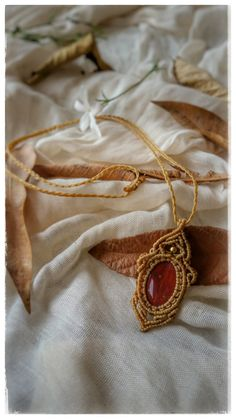 macrame necklace yellow pendant red bloodstone by NarkisMacrame