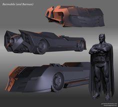 Batmobile and Batman by ~Pyroxene