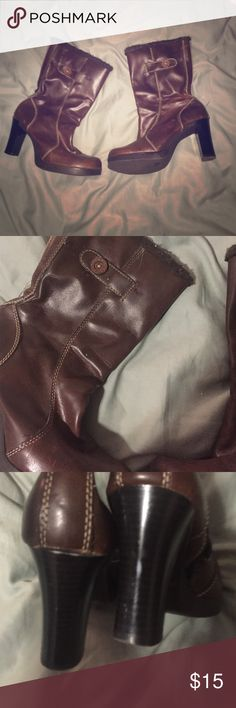 Candies chunky brown boot with heel and fur zip Super cute and gently used lots of life left! Boots with the fur. Trendy 90s cut Candie's Shoes Heeled Boots