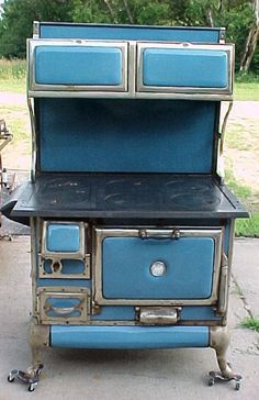 Antique Porcelain KARR #20 8 CR Wood Cook Stove;BLUE;WARMING OVENS