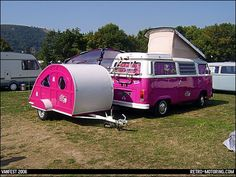 Pink VW Camper Van and matching teardrop caravan trailer