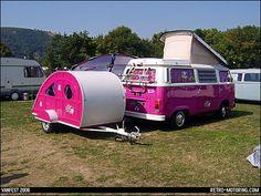 Pink VW Camper Van and matching teardrop caravan trailer