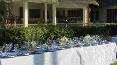Simple white wedding decoration in a beachfront villa