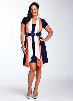 Ashley Stewart Belted Color Block Dress, $50