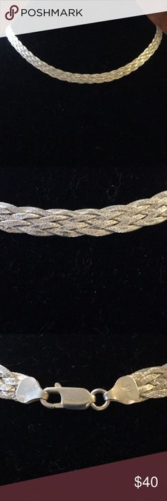 """MILOR Italy Sterling Silver Braided Chain Necklace Marked .925 Milor Italy, this gorgeous necklace is flawless and measures 18"""" long and 3/16"""" wide. Milor Jewelry Necklaces"""