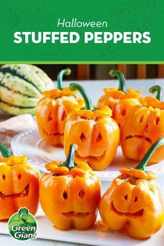 Gf Recipes, Veggie Recipes, Fall Recipes, Holiday Recipes, Cooking Recipes, Halloween Treats, Halloween Fun, Halloween Stuffed Peppers, Green Giant Riced Veggies