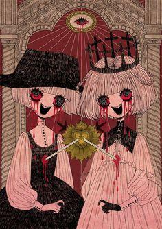 Ex Voto -folie- by tourniiquett Creepy Drawings, Cute Drawings, Arte Horror, Horror Art, Art Goth, Creepy Art, Aesthetic Art, Cute Art, Art Inspo