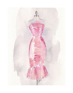 Pink Vintage Dress Watercolor Painting - Vintage Pink Evening Dress on Mannequin Dress Form - Fashion Illustration - Original Art, 8x11