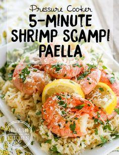 5-Minute {Pressure Cooker} Shrimp Scampi Paella