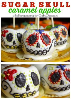 Celebrate Dia de Los Muertos with these beautiful and delicious Sugar Skull Caramel Apples! Holiday Treats, Halloween Treats, Holiday Recipes, Halloween Candy Apples, Halloween Halloween, Vintage Halloween, Halloween Makeup, Halloween Costumes, Comida Diy
