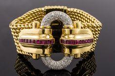 18K diamante rubí pulsera Vintage antiguo 1960
