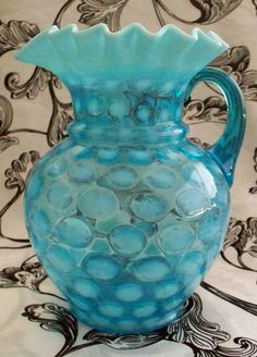 *FENTON ART GLASS ~ Ice or sea blue, Opalescent Pitcher, Coin Spot or Coin Dot Water or Lemonade Ruffled Rim Ice Spout.
