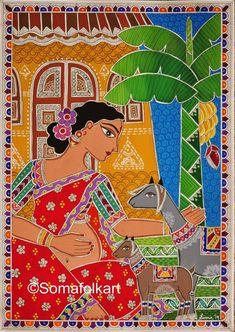 Mother's Day Gift Print Madhubani Pregnant lady and goats Indian Home Decor Wall Art Madhubani Paintings Peacock, Madhubani Art, Indian Art Paintings, Tanjore Painting, Happy Paintings, Abstract Paintings, Oil Paintings, India Painting, Mural Painting