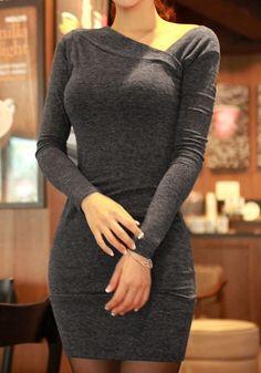 Asymmetrical Neckline Grey Dress