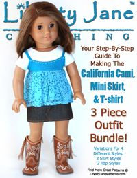 Free Pattern for American Girl Doll - Liberty Jane Trendy Tee   Liberty Jane Doll Clothes Patterns For American Girl Dolls