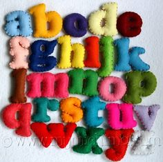 "Stuffed Felt Alphabet Letter Set in a Drawstring Bag by MiChiMaLLC     Very cute stuffed felt numbers and upper and lower case letters which match in color (1.5"" to 2"")"