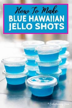 This Blue Hawaiian jello shot recipe with Malibu rum is to die for! I love the combination of pineapple juice and coconut rum...almost like a blue pina colada! The blue color is perfect for summer and my 4th of July party. #fromhousetohome #drinks #partyideas #cocktails #jelloshots #rumjelloshots