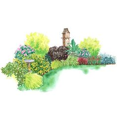 Year-Round Garden for shady spots:  This mix of shrubs and perennials teams up to provide a large dose of color all season long. Garden size: 17 by 30 feet.