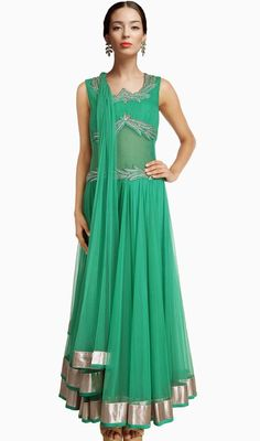 Radiate charm and flaunt your feminine looks dressed in this jade green net long length Anarkali churidar dress. The ethnic lace, patch and resham work at attire adds a sign of elegance statement to your look. #AwesomeDesignerCollection