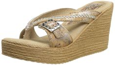 Sbicca Women's Acheron Wedge Sandal,Natural,9 B US. Double padded insole. Soft suede sock. Comfortable wedge. Adjustable buckle.