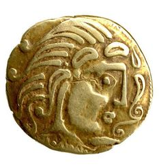 Gold coin of the Parisii. Celtic (ca. 2nd century B.C.), found in Paris. This coin has a Hellenistic motif, as the Celts were likely to have started using coins after the example of Hellenistic kings who used Celts as mercenaries in their armies. The design, however, is very Celtic.