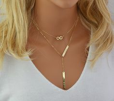 Gold Lariat Necklace, Name Necklace, Double Bar Necklace, Engraved Necklace Bar, Personalized Necklace Gold, Silver, Rose Gold by malizbijoux. Explore more products on http://malizbijoux.etsy.com