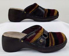 SKECHERS WOMENS PLATFORM WEDGE Multi Color Corduroy High Heel Mules 9 Used #SKECHERS #Slides
