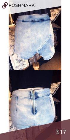 Boohoo Denim Envelope Skort High waist skinny boohoo envelope skort with back zipper. Never been worn and in perfect condition. The material is extremely stretchy and flattering! Boohoo Shorts Skorts