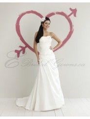 A-line Strapless Softly Curved Neckline Wedding Dress