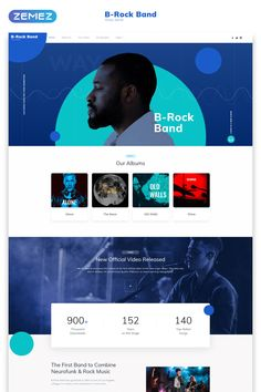 B-Rock Band - Music Band Multipage Creative HTML Website Template bands B-Rock Band - Music Band Multipage Creative HTML Website Template Design Web, Website Design Layout, Web Layout, Website Design Inspiration, Page Design, Business Web Design, Flat Design, Graphic Design, Blue Website