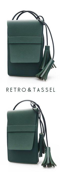 US$11.99+Free shipping. Women Bags, Crossbody Bag, Handbag, Phone Bag. PU Leather, Retro, Tassel, Quality, Mini. Color: Green, Grey, Black. Shop now~