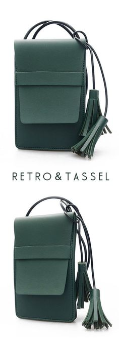 Women PU Leather Retro Tassel Quality Mini Crossbody Bag Handbag Phone Bag 58388d7560373
