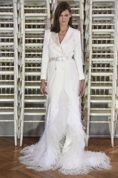 Avant Gard Off White Tuxedo Style Evening Gown with a Feather Hemline - Alexis Mabille Spring 2016 Couture Fashion Show