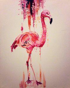 Flamingo Oil Painting Original by KatyJadeDobsonART on Etsy, £80.00