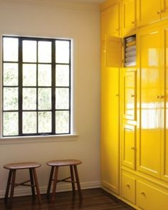 gloss yellow fitted cupboards