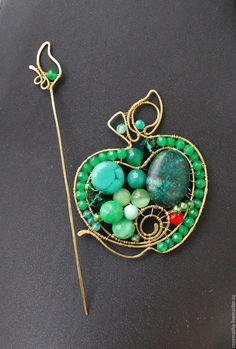 Купить Брошь Яблоко Тайного Сада (вариант) - зеленый, комплект, подарок, яблоко, модерн